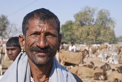 Broad smiling cattle farmer in Nagaur. Royalty Free Stock Photos