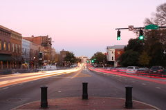 Broad Street in Athens, Georgia at dusk Stock Photography