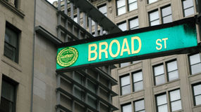 Broad Street Boston. Details of a Broad Street sign in Boston, Massachusetts Stock Photography