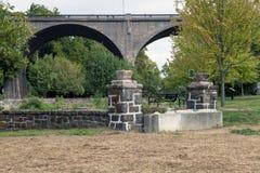 Broad Street Bridge. The Broad Street bridge looms over Johnston Park Royalty Free Stock Photo