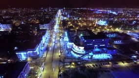 Broad Street from a great height at night. stock video footage