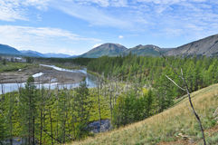 The broad valley of the mountain river with a high cliff. Stock Photo