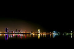 Broad view of Bahrain skyline and reflection Royalty Free Stock Images