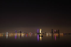 Broad view of Bahrain skyline and reflection Royalty Free Stock Photos