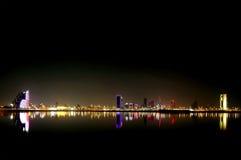 Broad view of Beautiful illuminated Bahrain skyline Royalty Free Stock Images