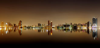 Broad view of Juffair skyline and reflection, Bahrain Royalty Free Stock Images