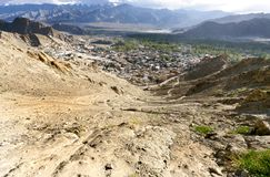 Broad view from the Leh palace, Tsemo hill Stock Photo