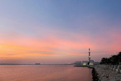 Broad view of mosque at Muharraq corniche during dusk , Bahrain Stock Photos