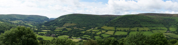 Broad view of the valley of Llanthony priory Royalty Free Stock Images