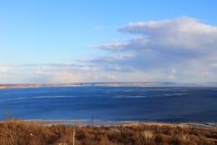 The broad Volga river in Russia Stock Photo