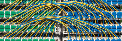 Broadband cabinet wiring. Complex wiring for superfast fibre broadband cabinet Stock Photo
