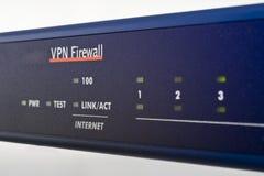 Broadband internet firewall router. Blue broadband internet firewall router stock image