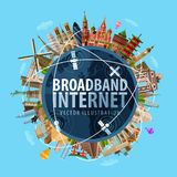 Broadband Internet vector logo design template. High-speed Internet and the world. vector. flat illustration Royalty Free Stock Images