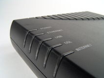 Broadband Modem. High resolution digital photo of a newest model of broadband modem for accessing internet stock image