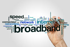 Broadband word cloud. Concept on grey background royalty free stock photo