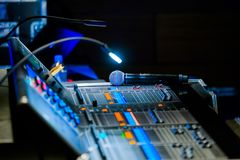 Broadcast audio and video equipment working stock photos