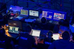 Broadcast audio and video equipment working at business conference stock photo