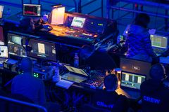 Broadcast audio and video equipment working at business conference royalty free stock photography