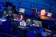 Broadcast audio and video equipment working at business conference stock image