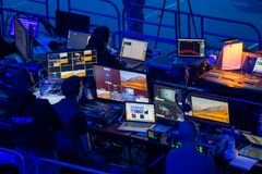 Broadcast audio and video equipment working at business conference royalty free stock photos