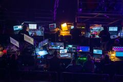 Broadcast audio and video equipment working at business conference stock images