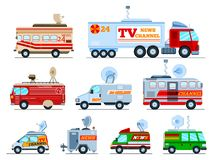 Broadcast car vector tv vehicle broadcasting van with antenna satellite media and television transport illustration set. Of breaking live news technology auto stock illustration