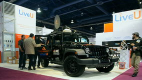 Broadcast demo, NAB Show 2015 exhibition in Las Vegas, USA, stock footage