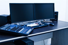Broadcast editing station Royalty Free Stock Photo