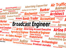 Broadcast Engineer Represents Employee Text And Jobs Royalty Free Stock Image