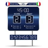 Broadcast graphic for football final score. Football Soccer Match Statistics. Scoreboard and numbers. France versus Italy Team. Digital background vector Royalty Free Stock Images