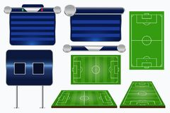 Broadcast Graphics for Sport Program. Soccer match template. Football elements and play fields. Match Infographic. Vector illustration vector illustration