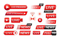 Broadcast icons. Web and mobile video translation buttons and banners for live news and stream broadcasting. Vector