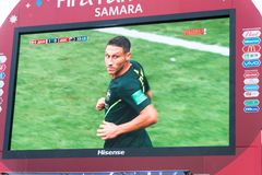 Broadcast of the match Denmark-Australia on the screen in the fan zone of the world Cup 2018. SAMARA, RUSSIA - JUNE 21, 2018: Broadcast of the match Denmark Stock Photo