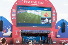 Broadcast of the match Denmark-Australia on the screen in the fan zone of the world Cup 2018. SAMARA, RUSSIA - JUNE 21, 2018: Broadcast of the match Denmark Royalty Free Stock Image