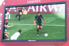 Broadcast of the match Denmark-Australia on the screen in the fan zone of the world Cup 2018. SAMARA, RUSSIA - JUNE 21, 2018: Broadcast of the match Denmark Royalty Free Stock Photo