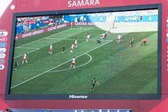 Broadcast of the match Denmark-Australia on the screen in the fan zone of the world Cup 2018. SAMARA, RUSSIA - JUNE 21, 2018: Broadcast of the match Denmark Stock Photos