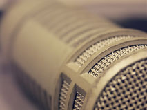 Broadcast microphone macro. Macro of a broadcasting microphone Royalty Free Stock Photo