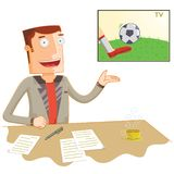 Broadcast news soccer presenter. Available in vector eps 10 file vector illustration