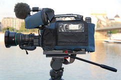 Broadcast quality camera. At Budapest near Danube royalty free stock photos