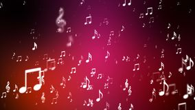 Broadcast Rising Music Notes, Red, Events, Loopable, 4K