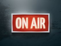 Broadcast studio on air light vector sign on wall Royalty Free Stock Images