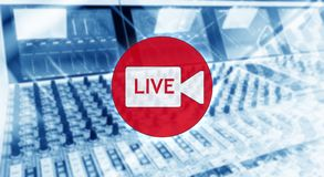 Broadcast studio. Live. Professional sound engineer`s console. Remote control for the sound engineer. Mixing consoles. Blurred bac royalty free stock image