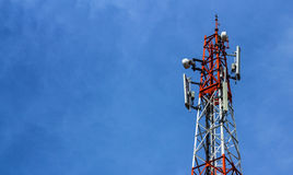 Broadcast tower. Mobile broadcast tower on clear blue sky Stock Photo