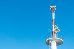ฺBroadcast tower with blue sky background. With copy space Stock Photos