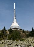 Broadcast tower and hotel. In town Liberec. Czech republik Royalty Free Stock Images