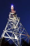 Broadcast tower. Illuminated broadcast tower in Lviv at night Stock Images