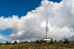 Broadcast tower of Praded mountain Stock Photo