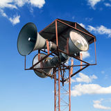 Broadcast tower. Speaker broadcast tower on sky background Royalty Free Stock Photo