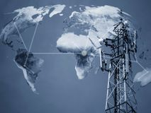Telecommunication Concept Background. Broadcast tower, telecommunication concept on world map background, Elements of this image furnished by NASA Royalty Free Stock Photo
