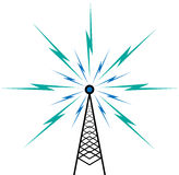Broadcast tower. Vector illustration of broadcast tower on white Royalty Free Stock Image